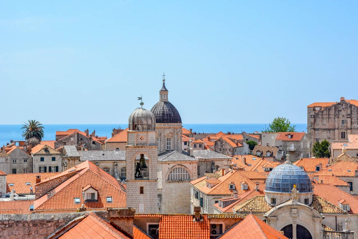View of city rooftops in Dubrovnik, Croatia