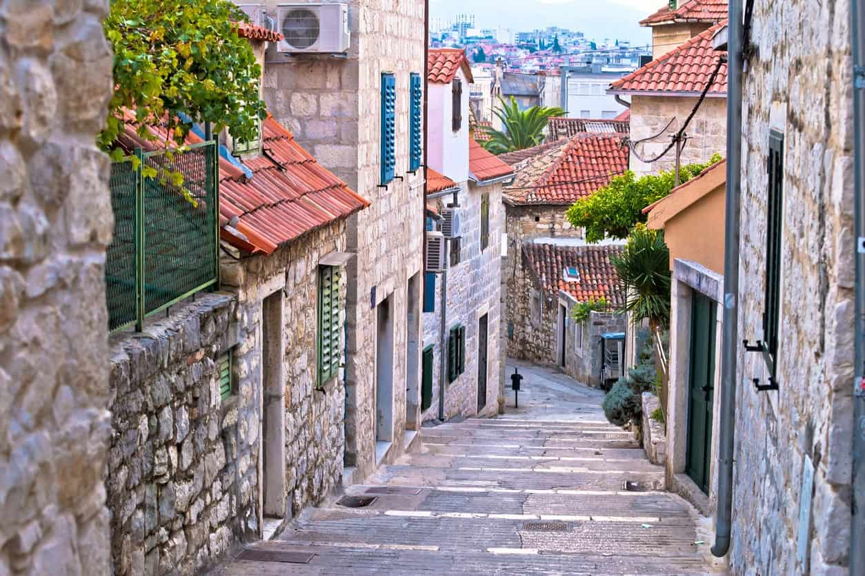 Old stone street of Split historic city