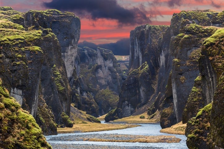 Fjadrargljufur canyon during sunset in Iceland